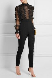 Guipure lace, tulle and crepe jumpsuit