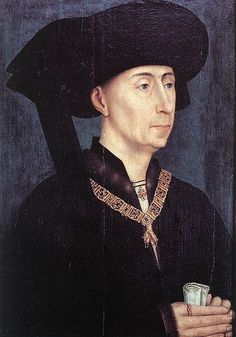 """Philip """"the Good"""" of Burgundy, who assembled the Burgundian Netherlands through marriage, purchases and military victories. Note the ring on his right index finger.  One very much like it shows up on the Lawyer's hand in Marinus's """"The Lawyer's Office"""""""