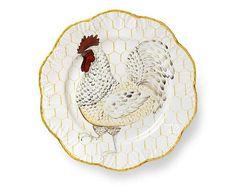 Le grand décorateur Alberto Pinto a dessiné une sublime série d'assiettes peintes à la main de jolies poules sur fond de grillage