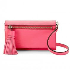 "Rebecca Minkoff || Electric Pink Crossbody Bag Love this wave-embossed, textured, hot pink bag from Rebecca Minkoff. Removable crossbody or shoulder strap to convert to a clutch. Foldover clutch style with tassel zip pocket on front. Two open compartments and one zippered center slot on interior. Credit card slots on inside. 5"" high x 8"" wide x 1.75"" deep. Color is a saturated pink, more like the last photo than the stock photos. Rebecca Minkoff Bags Crossbody Bags"