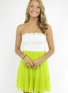 White & Lime Green Dress with Lace Top & Chiffon Pleat Skirt