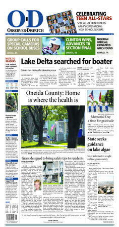 The front page for Tuesday, May 27, 2014: Lake Delta searched for boater