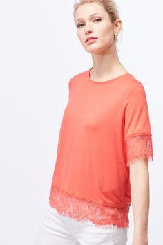 Cortefiel - Camiseta acabados encaje