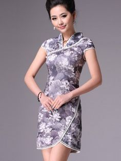 Batik Idea/Gray Short Cheongsam / Qipao / Chinese Evening Dress with Lotus Print