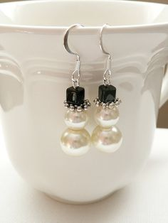 Beaded Glass Pearl Snowman Dangle Earrings   by mizlisasdesigns, $9.00
