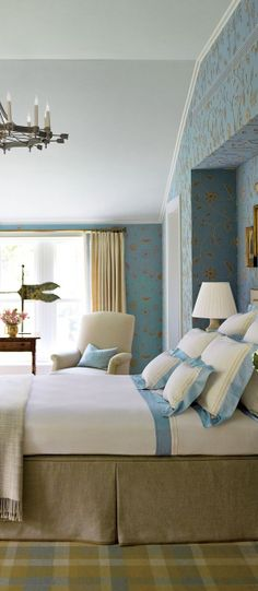 Antiques In The Master Bedroom Of A Connecticut House; The Bed Linens Are  By E
