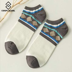 [COSPLACOOL] Spring and summer new products hot sell Invisible retro cotton short boat socks men's casual socks comfortable