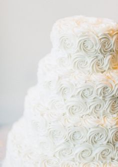 White Rose Frosted Wedding Cake. Only with something on the top :)