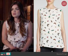Aria's white butterfly print top on Pretty Little Liars.  Outfit Details: http://wornontv.net/43032/ #PLL
