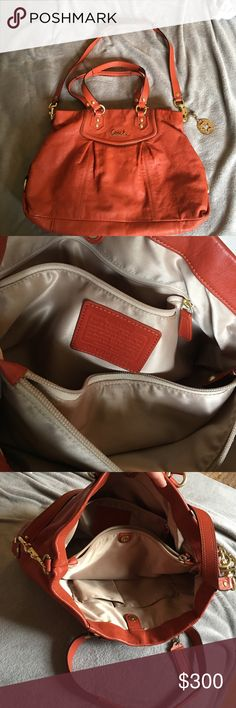 Coach Bag Burnt Orange, very gently used!! Flawless and clean inside, no marks, absolutely clean as clean can be!! No scratches, no wear, no marks!! Comes with a key chain that was purchased separately (missing one rhinestone) Coach Bags Hobos