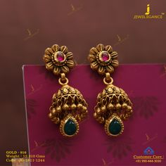 Get In Touch With us on Gold Jhumka Earrings, Jewelry Design Earrings, Gold Earrings Designs, Indian Earrings, Necklace Designs, Peacock Earrings, Gold Necklace, Gold Designs, Ear Jewelry