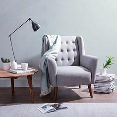 Abel Light Grey Black Button Armchair by Zanui