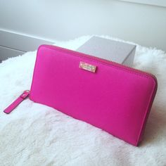 "Kate Spade Neda Wallet Hot Pink Brand New No Tags! No creases, no stains, no rips tears etc. Never used! Real Genuine leather. Measures about 3.9"" h x 7.6"" w 0.8"" dimensions. Comes with Kate Spade Shopping Bag! Color is exactly like the first and last picture! No filters! kate spade Bags Wallets"