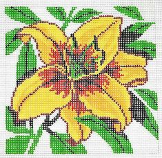 *New* LEE Yellow Daylily Flower Series handpainted Needlepoint Canvas on 12 Mesh Needlepoint Stockings, Needlepoint Canvases, Needlepoint Patterns, Cross Stitch Flowers, Cross Stitch Patterns, Pink Rose Flower, Beading Patterns Free, Rainbow Loom, Day Lilies