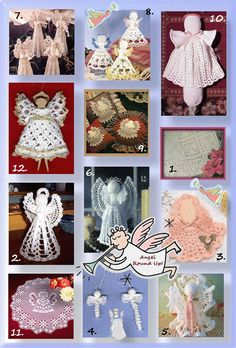 Twelve patterns for angels from adorable to beautiful, doilies to toppers and all that's between!Twelve angels to watch over you!Number 1. Kim Guzman of CrochetKim.com Angel Afghan Work up this beautiful afghan where each square motif depicts an angel.  Simply heavenly