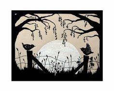 Harvest Moon  8 X 10 inch Cut Paper Art Print door ruralpearl, $23.00
