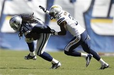 Dallas Cowboys vs. San Diego Chargers - Charger linebacker Larry English grabs Dallas Cowboys wide receiver Dwayne Harris. 9-29-13 Dallas standings 2 - 2