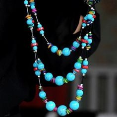 YN-4843 Three fresh wild turquoise sweater chain long necklace European and American style multi-layered fashion gift three turquoise sweater chain  Material: turquoise beads, shell color film, color bone slices, black porcelain beads  Size: about 41cm