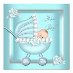 Cute Baby Shower Baby Boy Teal Blue Pram 2