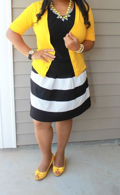 black and white stripe skirt, yellow cardigan, and yellow peep toe bow wedges; modest outfit idea