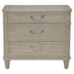 Lanz French Country Grey Oak Antique Silver Nightstand