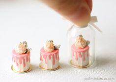 Dollhouse Miniatures, Miniature Food Jewelry, Craft Classes: Dollhouse Miniature Pink Rose Cakes