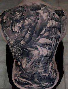 Boat full back tattoo - 100 Boat Tattoo Designs  <3 <3