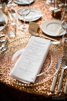 Gold, Copper and Bronze Wedding Bronze Wedding Theme, Copper Wedding, Sequin Wedding, Hotel Wedding, Dream Wedding, Luxury Wedding, Color Cobre, Wedding Place Settings, Glamorous Wedding