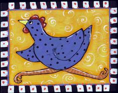 Art 'Purple' - by Cindy Bontempo (GOSHRIN) from Birds, acrylic, 2015, My little purple chicken seems to be in a hurry!