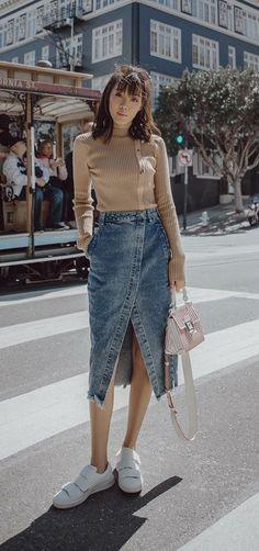 b6b5405f8 26 melhores imagens de Saia jeans branca em 2019 | White skirt ...