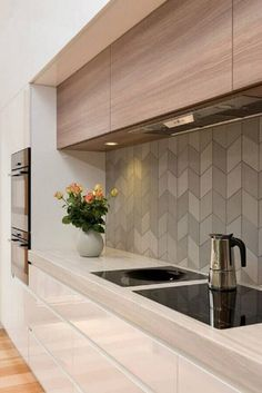 Browse photos of modern kitchen designs. Discover inspiration for your minimalist kitchen remodel or upgrade with ideas for storage, organization, layout and . Kitchen Room Design, Modern Kitchen Design, Kitchen Tiles, Kitchen Colors, Kitchen Interior, New Kitchen, Kitchen Decor, Kitchen Wood, Kitchen Grey