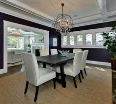 Looking for dining room office funiture including food groups, console gaming tables, glass-door cabinet and more. Navy Blue Rooms, Room Design, Blue Rooms, Dining Room Navy, Black And White Dining Room, Home Decor, Craftsman Dining Room, Dining Room Office, Dining Room Blue