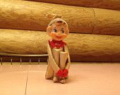 Vintage Christmas Pixie Elf Knee Hugger Round Ears Gold Metallic Red Collar