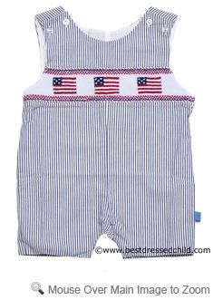 Posh Originals Infant / Toddler Boys Navy Blue Striped Smocked American Flags SHORTALL