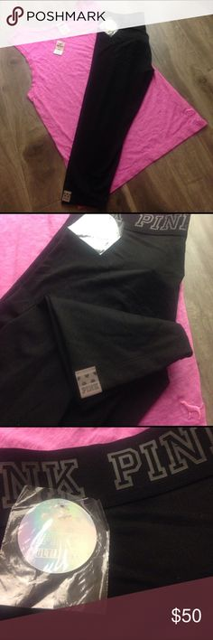 """NWT PINK Victoria's Secret Ultimate gym crop pant NWT PINK Victoria's Secret Ultimate gym yoga running crop pants. Color black.  PINK"""" written around the black waist band. Reflective Pink tag on leg pant. size extra small. 77% polyester & 23% Elastane. ships same day of purchase. PINK Victoria's Secret Pants Ankle & Cropped"""