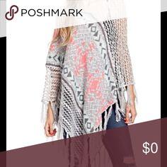 Boho print poncho. Add style to your wardrobe 💕 Boho print pancho with fringe detail. Great accessory to any wardrobe. Trendology Jackets & Coats