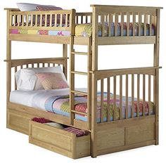 Columbia Bunk Bed with 2 Raised Panel Bed Drawers Twin Over Twin Natural >>> Click image to review more details.