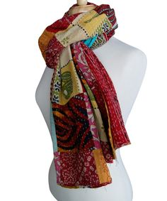 Look at this Bright Red & Orange Kantha Silk Scarf on #zulily today!