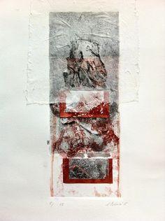 ELAINE d'ESTERRE - Bleeding Sand 1, 8/15, V.E. 2015, collagraph, chine-colle and silver leaf by Elaine d'Esterre at elainedesterreart.com and http://www.facebook.com/elainedesterreart/