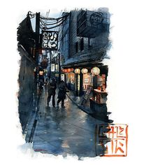 Pontocho alley Kyoto after an evening rain. #watercolor #japan #kyoto #ichsanharja