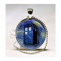 Doctor Who Necklace Tardis Blue Police Box Van Gogh Starry Night Dr... ($8.95) ❤ liked on Polyvore