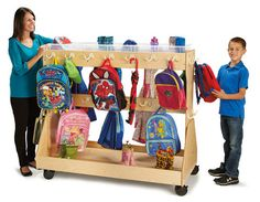 Jonti-Craft Mobile Backpack Cart with Cubbie Tray Storage kids bag and coat storage. Caster wheels to easily move from classroom to classroom. Order Direct and Save! Backpack Storage, Coat Storage, Diy Backpack, Cubby Storage, Kids Storage, Storage Cart, Preschool Furniture, Kids Furniture, Classroom Furniture