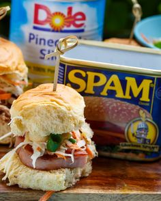 Hawaiian Spam Sliders with Tropical Slaw