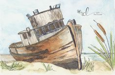 Stranded ink and wash watercolour