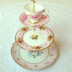 Cupcake stand with 3 tiers of English china. Roses, gold, lovely and ready for a proper high tea... : )