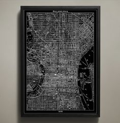 "The ""City of Brotherly Love"" fills up every bit of this poster's space with its streets, tunnels, bridges, parks and neighborhoods. It was this year, 1876, that Philadelphia hosted the US World's Fair, bringing tourists from all over to its historic streets. #philadelphia-map-print"