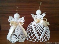 Handmade by Ecola & Dana Art - Aniołki 2015 Tulle Decorations, Christmas Decorations, Christmas Ornaments, Holiday Decor, Crochet Angels, Beach Cottage Style, Crochet Squares, Crochet Projects, Knit Crochet