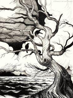 Huginn and Muninn raven drawing - mounted print of original pen and ink drawing Tree Drawings Pencil, Ink Pen Drawings, Art Drawings Sketches, Tatoo Nature, Pen Sketch, Sketch Inspiration, Fantasy Illustration, Ink Illustrations, Pen Art