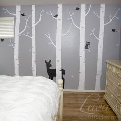 Birch Woodland Forest Wall Decal Set Cute for kids room