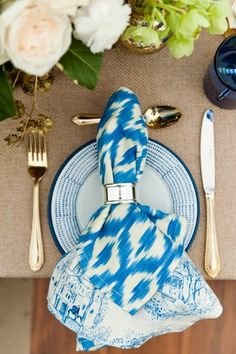 ikat table setting via grey likes weddings